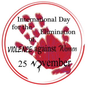 Vector to celebrate November 25, International Day for the Elimination of Violence against Women. a hand in a circle to say stop and the symbol of women. as initial November.